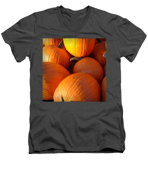Men's V-Neck T-Shirt featuring the photograph Pumpkins by Joseph Skompski