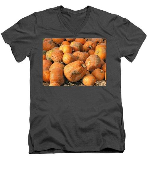 Pumpkins Men's V-Neck T-Shirt by Ron Harpham
