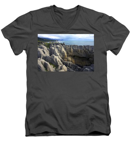 Men's V-Neck T-Shirt featuring the photograph Punakaiki Pancake Rocks #2 by Stuart Litoff