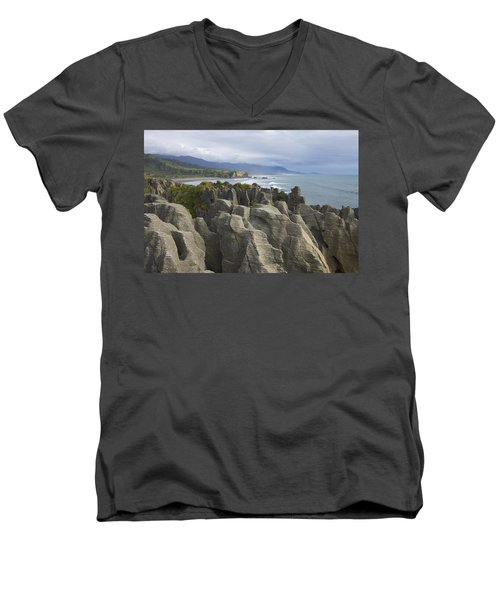 Men's V-Neck T-Shirt featuring the photograph Punakaiki Pancake Rocks by Stuart Litoff