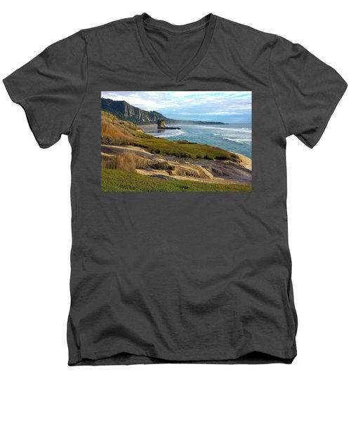 Men's V-Neck T-Shirt featuring the photograph Punakaiki Truman Track by Stuart Litoff