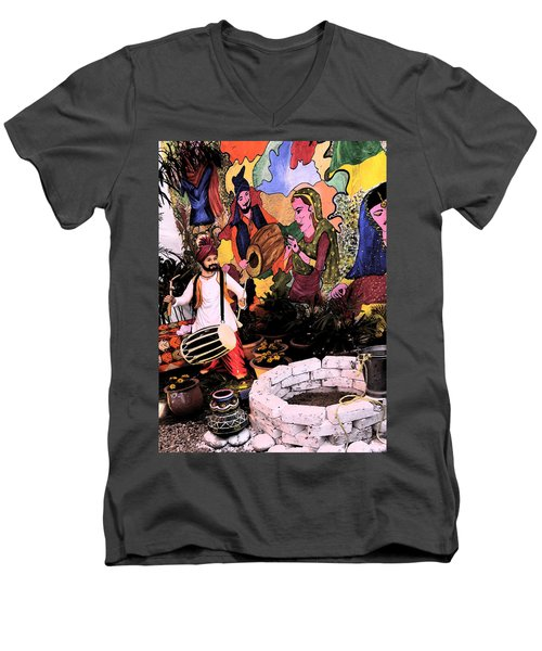Men's V-Neck T-Shirt featuring the digital art Punjabi by Bliss Of Art