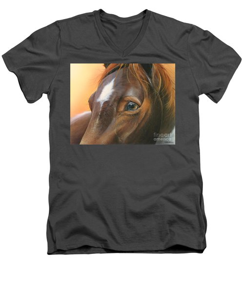 Men's V-Neck T-Shirt featuring the painting Pure Grace by Mike Brown