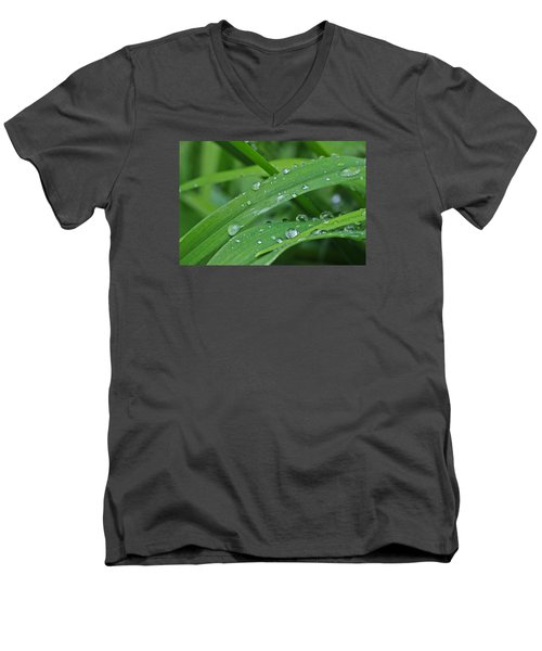 Men's V-Neck T-Shirt featuring the photograph Pure Green by Julie Andel