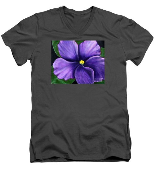 Men's V-Neck T-Shirt featuring the painting Purple African Violet by Barbara Griffin