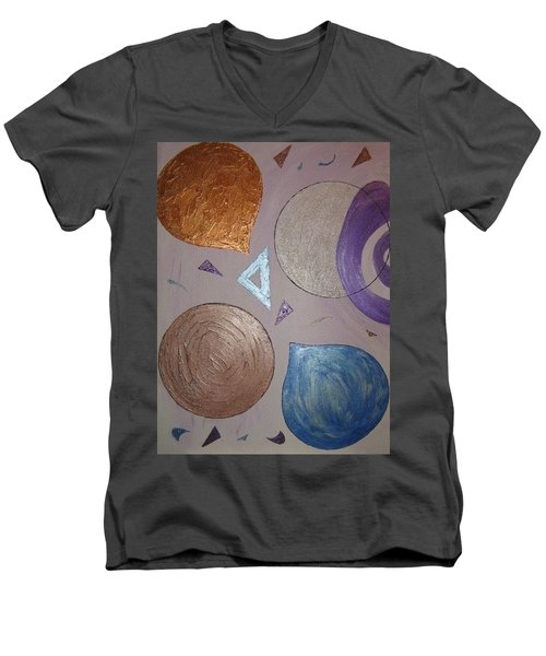 Purple And Metallic Shapes Men's V-Neck T-Shirt by Barbara Yearty