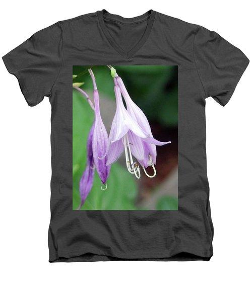 Purple And White Fuchsia Men's V-Neck T-Shirt