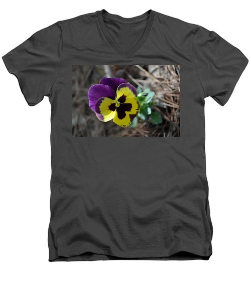 Men's V-Neck T-Shirt featuring the photograph Purple And Yellow Pansy by Tara Potts