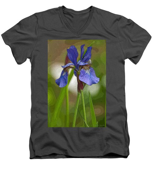 Purple Bearded Iris Watercolor With Pen Men's V-Neck T-Shirt