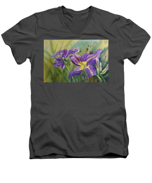 Purple Day Lily Men's V-Neck T-Shirt