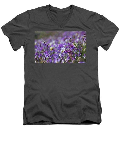 Purple Flower Bed Men's V-Neck T-Shirt