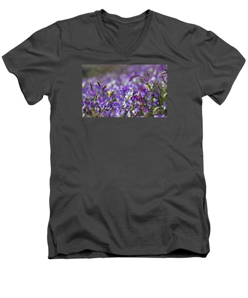 Purple Flower Bed Men's V-Neck T-Shirt
