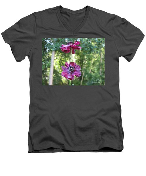 Men's V-Neck T-Shirt featuring the photograph Purple Flowers by HEVi FineArt