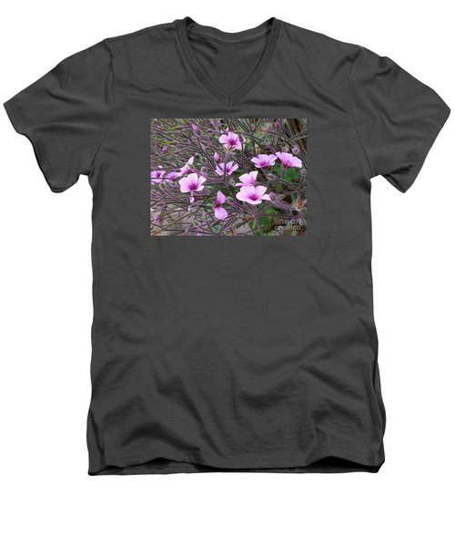 Men's V-Neck T-Shirt featuring the photograph Purple Flowers by Jasna Gopic