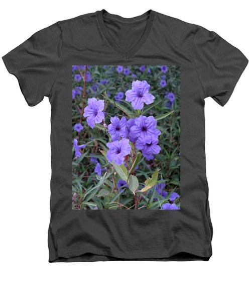 Men's V-Neck T-Shirt featuring the photograph Purple Flowers by Laurel Powell