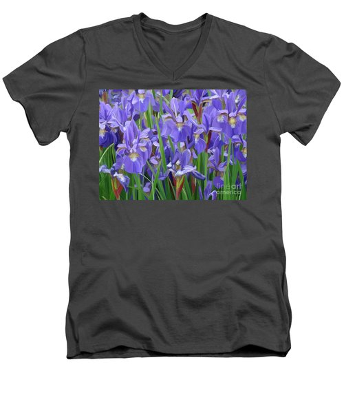 Men's V-Neck T-Shirt featuring the painting Purple Iris Garden by Tim Gilliland