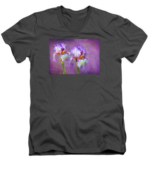 Purple Iris Men's V-Neck T-Shirt by Lena Auxier