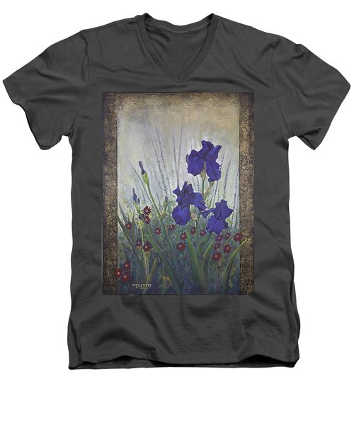 Men's V-Neck T-Shirt featuring the painting Purple Iris by Rob Corsetti