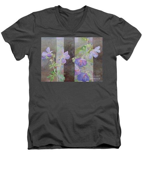 Purple Ivy Geranium Men's V-Neck T-Shirt by Laurel Best