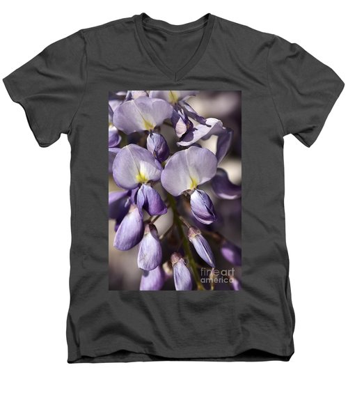 Men's V-Neck T-Shirt featuring the photograph Purple Of Wisteria by Joy Watson