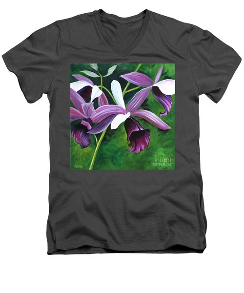 Purple Orchid Men's V-Neck T-Shirt by Debbie Hart