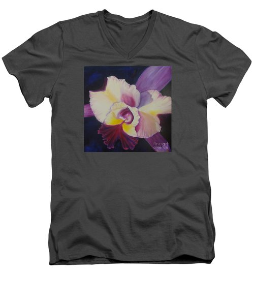 Men's V-Neck T-Shirt featuring the painting Purple Orchid by Jenny Lee