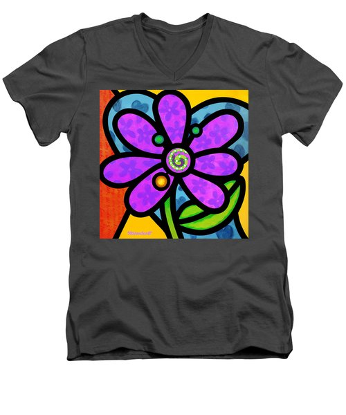 Purple Pinwheel Daisy Men's V-Neck T-Shirt