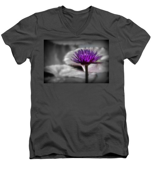 Purple Pond Lily Men's V-Neck T-Shirt