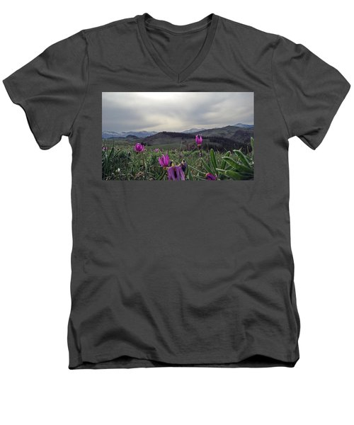 Men's V-Neck T-Shirt featuring the digital art Purple Spring In The Big Horns by Cathy Anderson