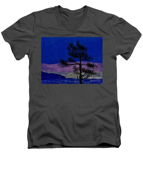 Men's V-Neck T-Shirt featuring the drawing Purple Sunset Bay by D Hackett