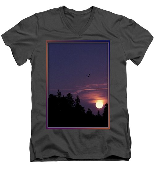 Men's V-Neck T-Shirt featuring the photograph Purple Sunset With Sea Gull by Peter v Quenter