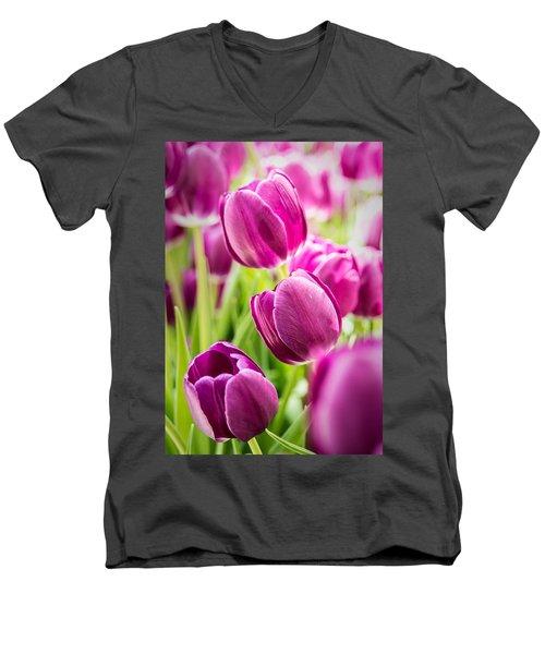 Purple Tulip Garden Men's V-Neck T-Shirt