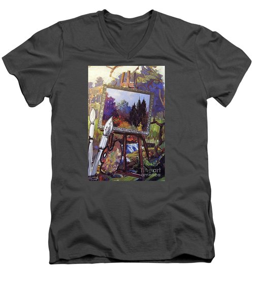 Men's V-Neck T-Shirt featuring the painting Put Color In Your Life by Eloise Schneider
