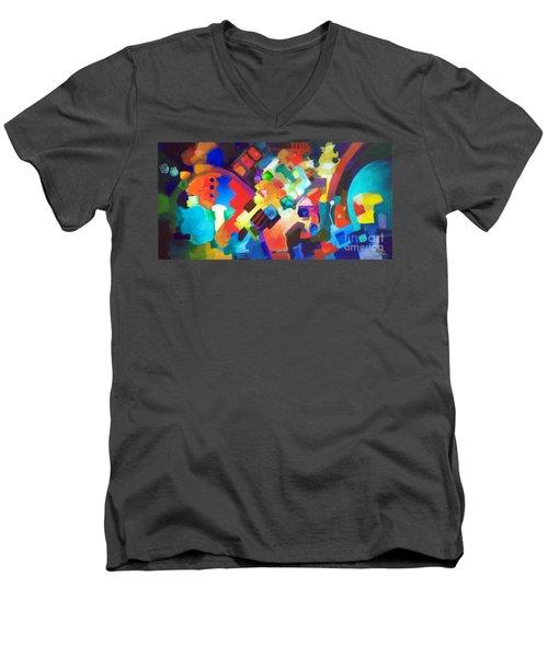 Put It Back Men's V-Neck T-Shirt by Sally Trace