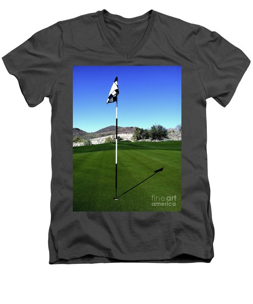 Putting Green And Flag On Golf Course Men's V-Neck T-Shirt