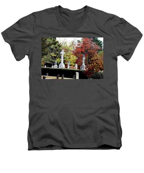Men's V-Neck T-Shirt featuring the photograph Quad Crosses In Fall by Lesa Fine