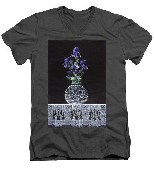 Queen Iris's Lace Men's V-Neck T-Shirt by Jennifer Lake