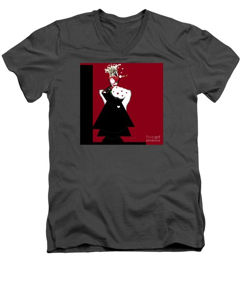 Queen Of Hearts Men's V-Neck T-Shirt