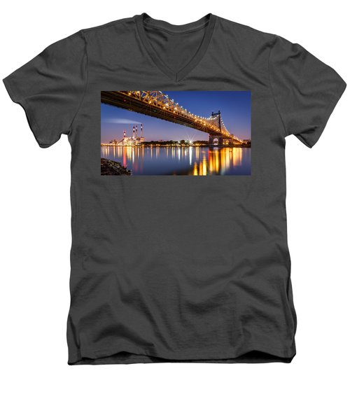 Queensboro Bridge Men's V-Neck T-Shirt by Mihai Andritoiu