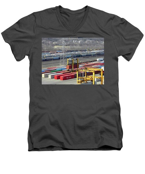 Men's V-Neck T-Shirt featuring the photograph Queensgate Yard Cincinnati Ohio by Kathy Barney