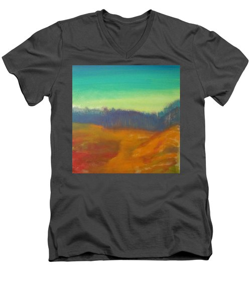 Men's V-Neck T-Shirt featuring the painting Quiet by Keith Thue