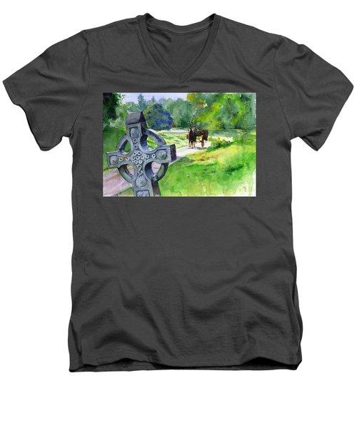 Quiet Man Watercolor 2 Men's V-Neck T-Shirt by John D Benson