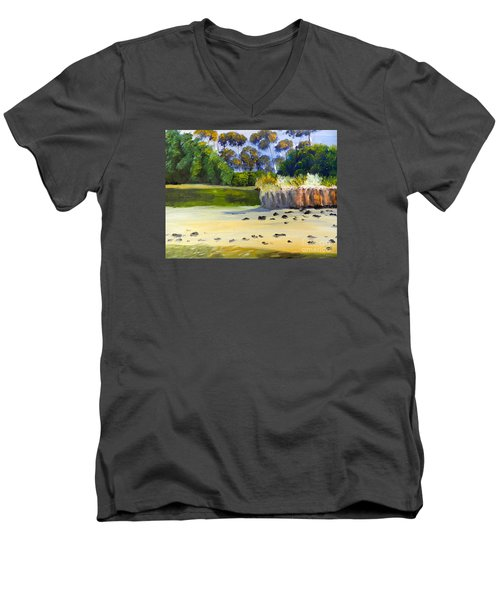 Men's V-Neck T-Shirt featuring the painting Quiet Sand By The Creek by Pamela  Meredith