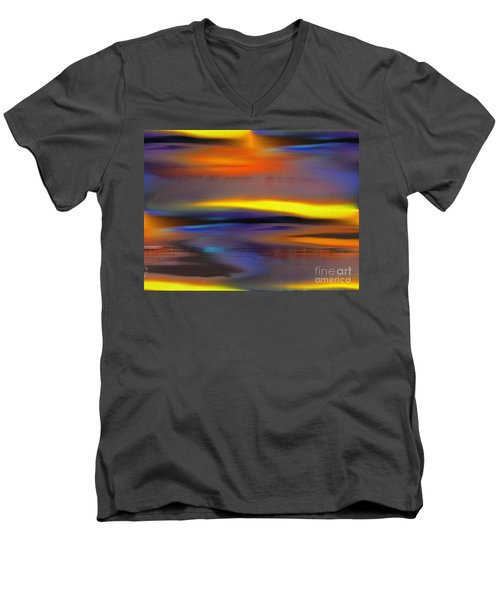 Men's V-Neck T-Shirt featuring the painting Soft Rain by Yul Olaivar