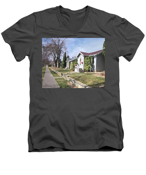 Quiet Street Waiting For Spring Men's V-Neck T-Shirt by Donald S Hall
