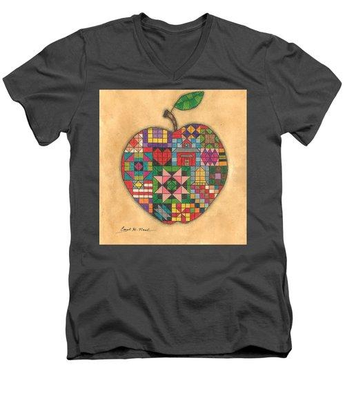 Quilted Apple Men's V-Neck T-Shirt
