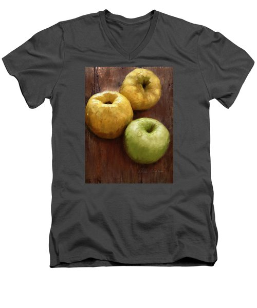 Quince And Apple Still Life Men's V-Neck T-Shirt by Enzie Shahmiri