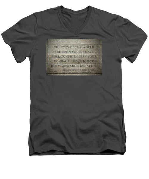 Quote Of Eisenhower In Normandy American Cemetery And Memorial Men's V-Neck T-Shirt