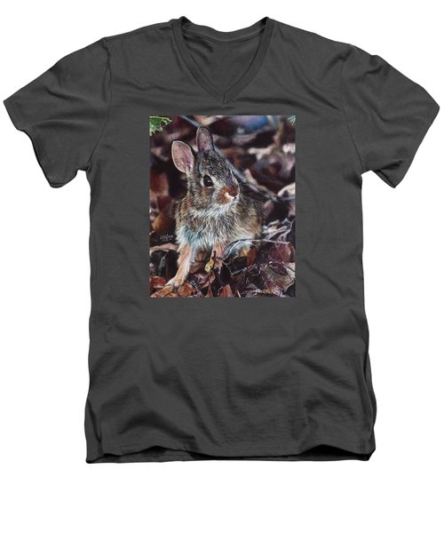 Men's V-Neck T-Shirt featuring the painting Rabbit In The Woods by Joshua Martin