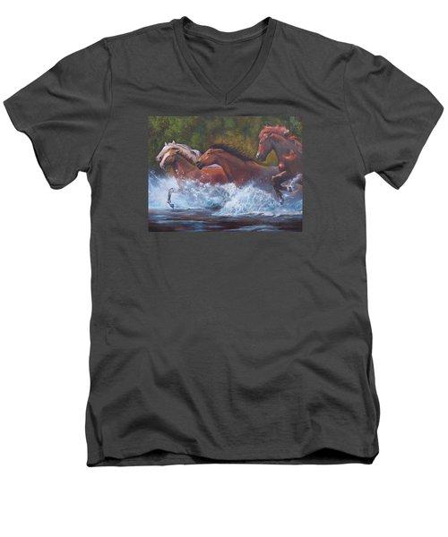 Race For Freedom Men's V-Neck T-Shirt by Karen Kennedy Chatham